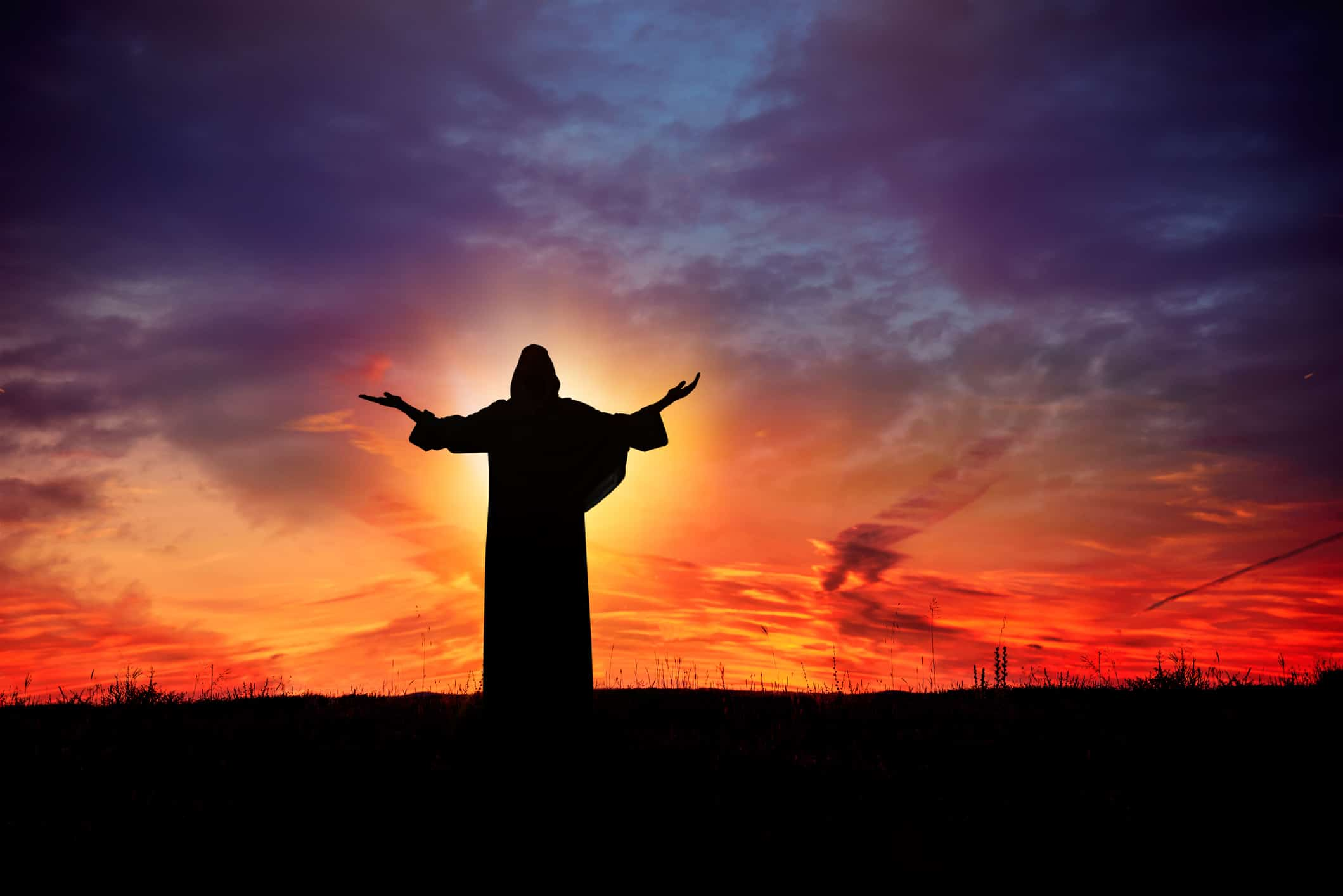 Jesus praying at sunset